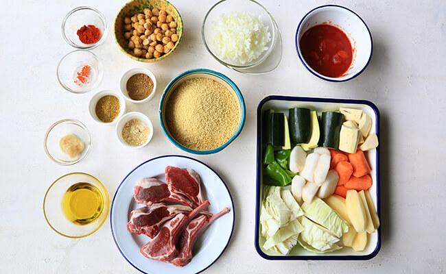 ラム肉と野菜のクスクスレシピ 材料