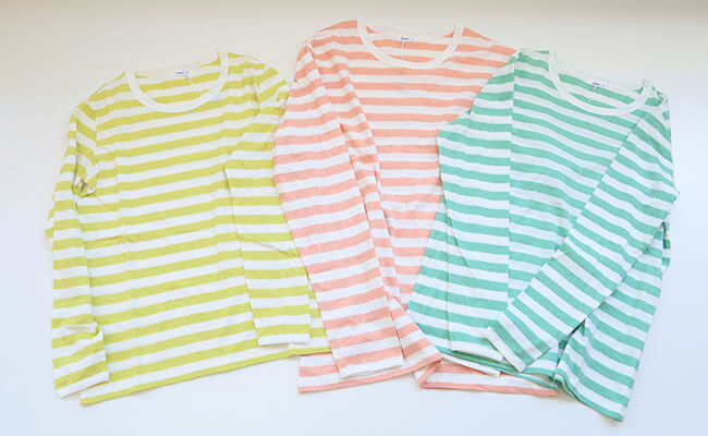maillot/light border long sleeve T-shirt MAC-055(レモン、ミント、ピーチ)