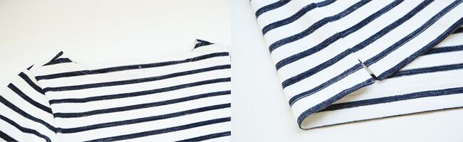 無印良品/オーガニックコットン太番手ボーダー長袖Tシャツ(かすれ調)(白×ダークネイビー(かすれ)