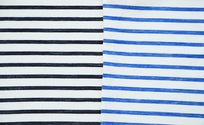 無印良品/オーガニックコットン太番手ボーダー長袖Tシャツ(かすれ調)(白×ダークネイビー(かすれ)、白×ブルー(かすれ)