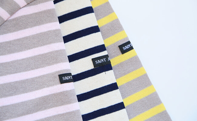 "SAINT JAMES/OUESSANT""BORDER""(TRIANON/BABY、ECRU/MARINE、TRIANON/ANANAS)SAINT JAMES/OUESSANT""BORDER""(左からTRIANON/BABY、ECRU/MARINE、TRIANON/ANANAS)"