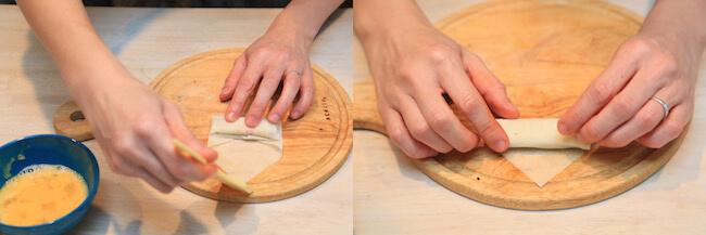 巻き終わりに卵液を塗って止めます
