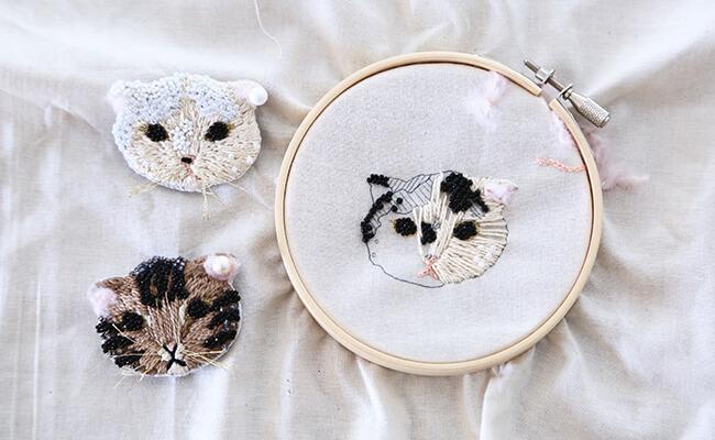 刺繍キット/ gris/ネコキット