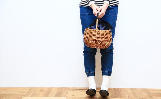 かごバッグ/Flea Store Vegetal/Round Basket(チャコールグレー)
