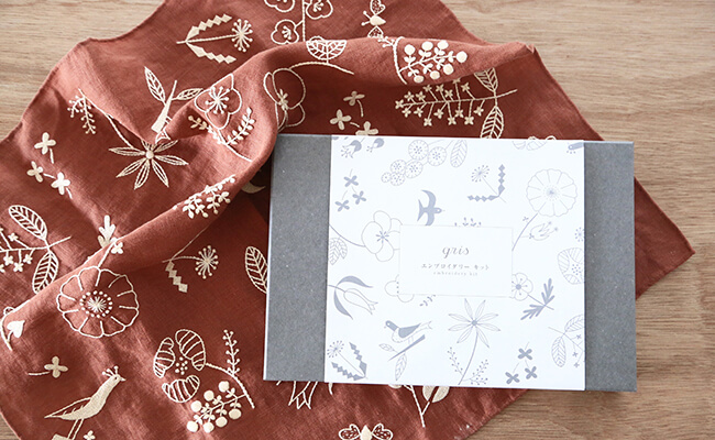 gris/EMBROIDERY KIT(antique rose)