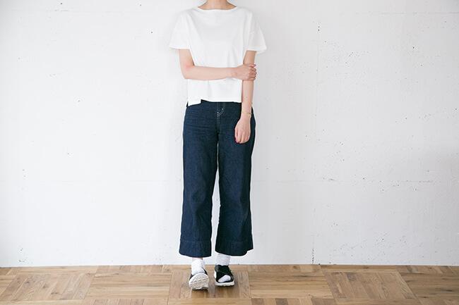 無印良品/オーガニックコットンフレンチスリーブTシャツ 白