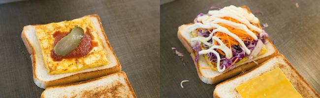 トーストサンドイッチが作られる様子