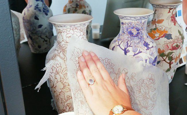 陶器に絵柄を転写