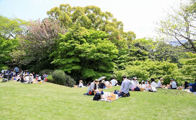フランス大使公邸のお庭でピクニックを楽しむ人たち