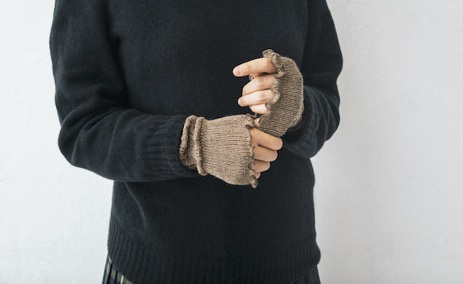 編み柄レッグオーマー
