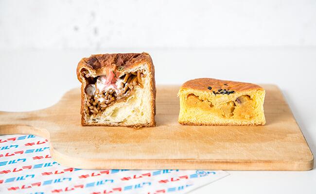 『キムラミルク』の「四角い焼きそばパン」(左)、「みつ姫安納芋あんぱん」(右)の断面