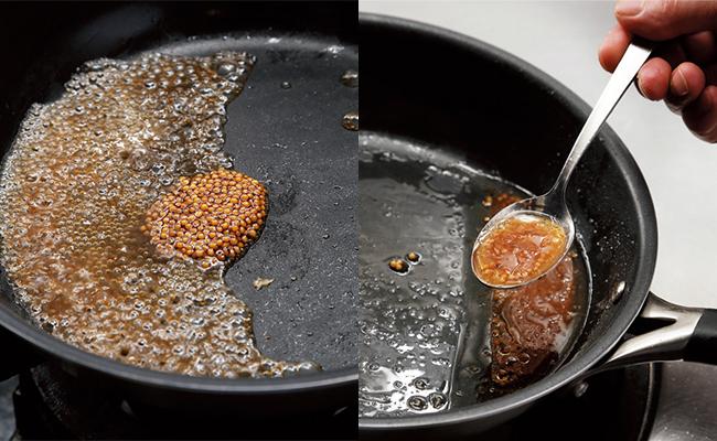 フライパンに残った焼き汁に赤ワインヴィネガーと粒マスタードを加えて弱火で加熱します。