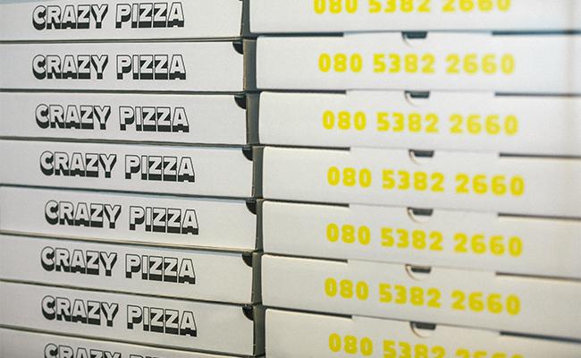テイクアウトの際に使用するピザ箱もチャーミング