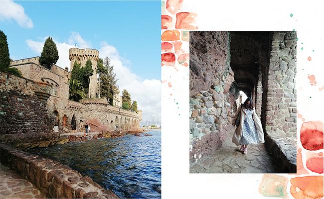 地中海を臨むこの小さなお城は、20世紀初頭、廃墟同然になっていたものをアメリカ人彫刻家とその妻によって再生されたもの。
