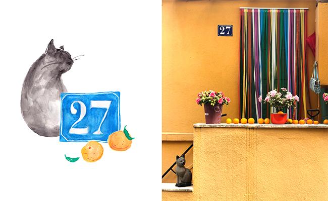 パンデミックにより毎年開催されるレモン祭は中止でしたが、家のエントランスではこんな感じでオレンジが列をなして踊っています!