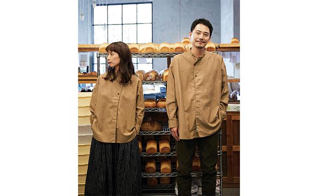 「コックコート」をイメージさせる『パン屋さんのシャツ』は、綿の綾織り生地を使い、丈夫で動きやすいのが特徴です。