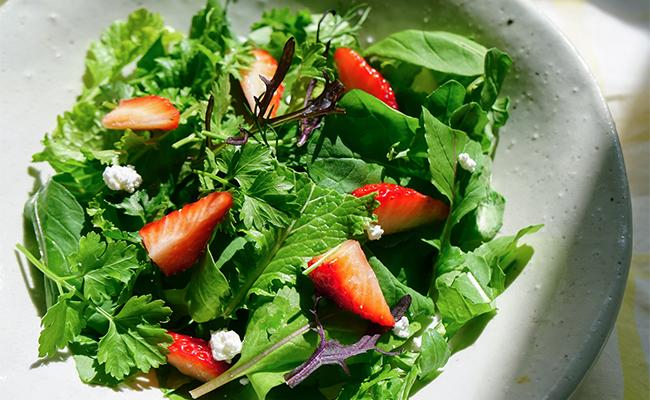 ロケット、マスタードグリーン、イタリアンパセリは、採れたてをちぎって、ドレッシングで和えて、旬のいちごを加えたフルーツサラダに。